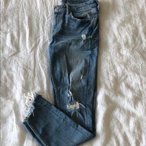 Zara destroyed ankle skinny jeans with raw hem